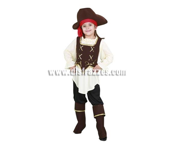 Disfraz barato de Pirata Bucanera niña para Carnavales. Talla de 3 a 4 años. Incluye sombrero, blusa, corpiño, pantalón y cubrebotas.  ¡¡Compra tu disfraz para Carnaval en nuestra tienda de disfraces, será divertido!!