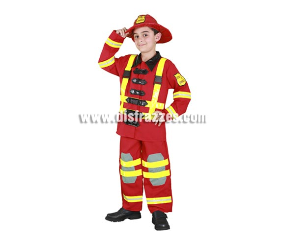 Disfraz de Bombero para niños de 10 a 12 años. Incluye sombrero, chaqueta y pantalón. Con éste traje los niños disfrutarán jugando a ser Bomberos, unos héroes de carne y hueso!