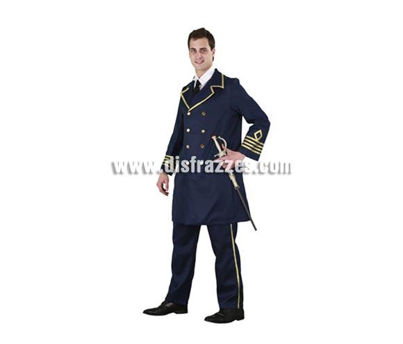 Disfraz de General de la Armada para hombre. Talla standar M-L = 52/54. Incluye chaqueta y pantalón. Espada NO incluida, la podrás ver en la sección de Complementos. Éste disfraz es muy original y a los chicos jóvenes les queda muy bien ya que tienen muy buena planta.