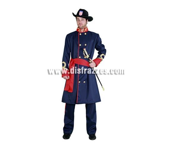 Disfraz de General Confederado para hombre. Talla standar M-L 52/54. Incluye sombrero, abrigo, fajín y pantalones. Espada NO incluida, la podrás ver en la sección de Complementos con la ref. 69065BT. Disfraz de General del Séptimo de Caballería.
