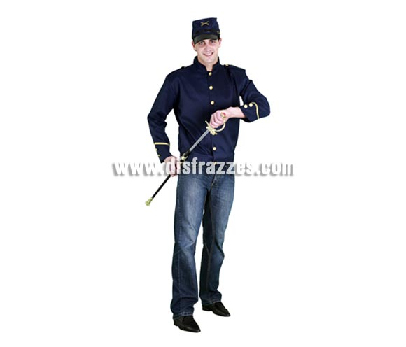 Disfraz barato de Sargento Confederado para hombre. Talla standar M-L = 52/54. Incluye gorra y chaqueta. Espada NO incluida, la verás en la sección Complementos con la ref. 69065BT. También llamado disfraz de Sargento del Séptimo de Caballería.