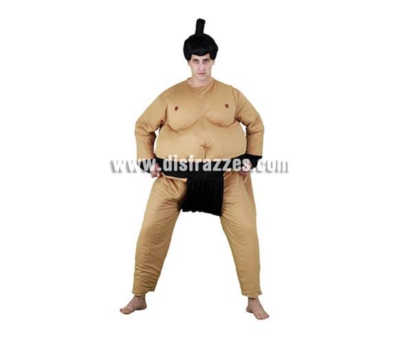 Disfraz de Luchador de Sumo para hombre. Talla standar M-L 52/54. Incluye mono y peluca. Éste disfraz al venir completo con la peluca y no tener que gastarte más dinero, está muy bien de precio y está muy pero que muy bien.