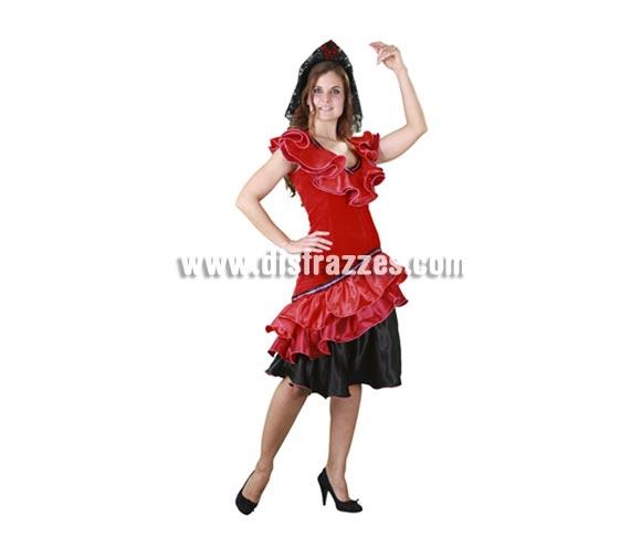 Disfraz de Spanish Woman para mujer. Talla standar M-L = 38/42. Incluye vestido y tocado. Éste traje de dama Española sirve un poco para cachondearnos de la imagen que tienen en el extranjero de nosotros. Viva España y olé!!