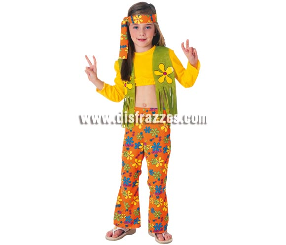 Disfraz barato de niña Hippie infantil. Talla de 8 a 10 años. Incluye camiseta con chaleco y flecos, pantalón de campana y cinta de la cabeza.