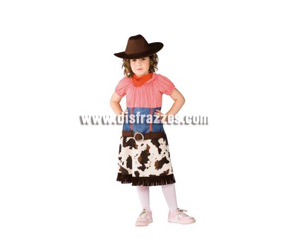 Disfraz de Cowgirl para niñas de 8 a 10 años. Incluye vestido, sombrero y pañuelo. Disfraz de Pistolera o Vaquera infantil de buena calidad.