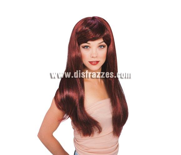 Peluca Glamour rojo caoba. Peluca melena larga lisa rojo caoba.