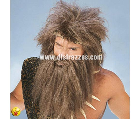 Peluca y barba de Cavernícola o Troglodita para adulto.