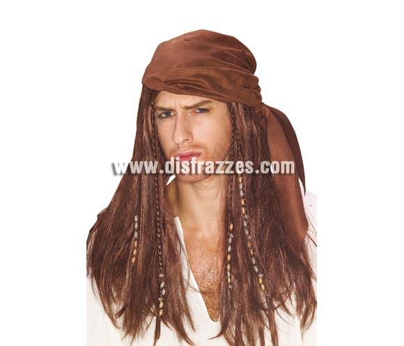Peluca de Pirata del Caribe con pañuelo para adultos.