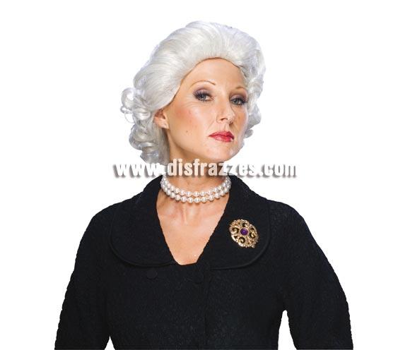 Peluca de Elisabeth Quuen adulta. Peluca de la Reina Isabel de Inglaterra o también podrá servir como peluca de abuela o de vieja.