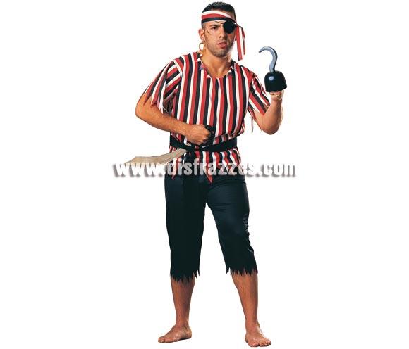 Disfraz muy barato de Pirata para chico. Talla standar. Incluye camisa, pantalón, faja, cinta de la cabeza y parche. Accesorios NO incluidos, podrás verlos en la sección de Complementos. Con éstos precios, el que no se disfraza es porque no quiere!!