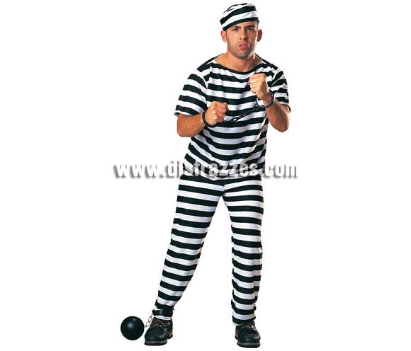 Disfraz de Prisionero para hombre. Talla standar. Incluye pantalones, camisa y gorro. Éste traje de Preso o Presidiario de chico se utiliza mucho en Despedidas de Soltero.