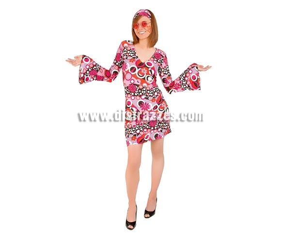 Disfraz de Hippie Flower Power para chicas. Talla S de mujer. Incluye vestido y cinta para la cabeza. Gafas NO incluidas, podrás verlas en la seccción de Complementos.