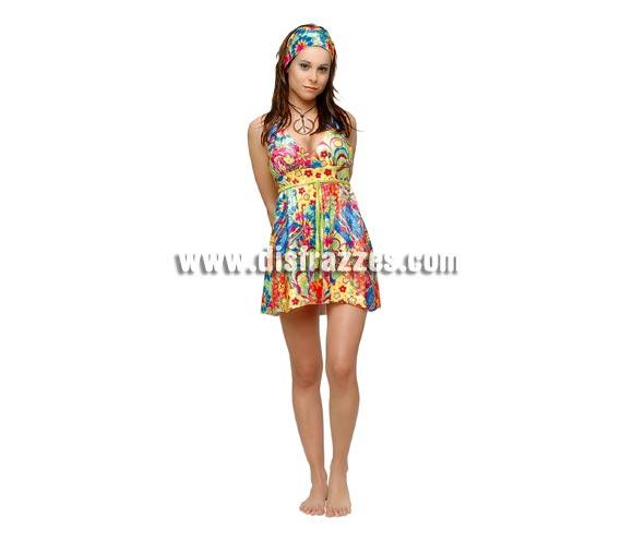 Disfraz de Sexy Flower Power para chica. Talla standar. Incluye vestido y cinta de la cabeza. Éste traje de la época de los Hippies es muy colorido y muy bonito, a más de una y de uno le puede traer recuerdos seguro que gratificantes. Paz y Amor!!