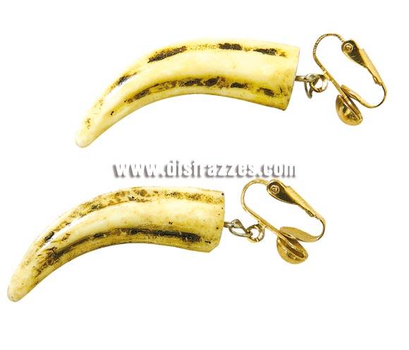 Pendientes Cavernícola o Troglodita de colmillos. También podrían servir para disfraces de Indios.