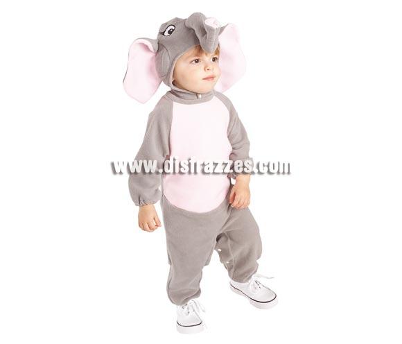 Disfraz de Elefante para Bebés de 6 a 12 meses. Incluye pelele con clips para fácil cambio de pañal y capucha.