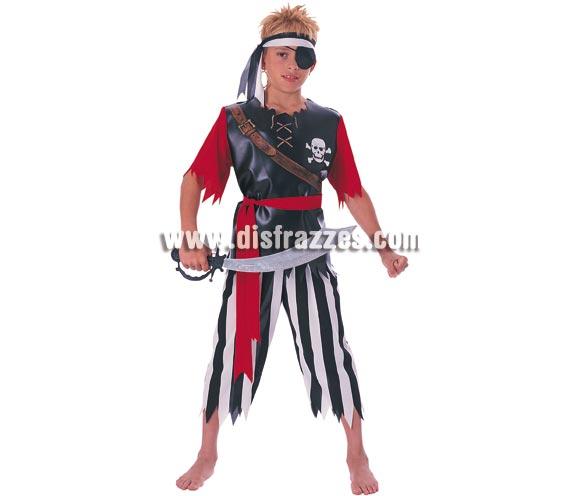 Disfraz de Pirata con parche para niños de 8 a 10 años. Incluye camisa, pantalón, cinturón y banda para la cabeza.