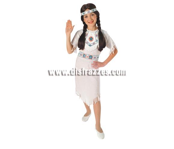 Disfraz barato de Princesa Apache para niñas de 8 a 10 años. Incluye vestido, cinturón y cinta para la cabeza. Éste traje de India para niña es muy bonito y de original diseño.