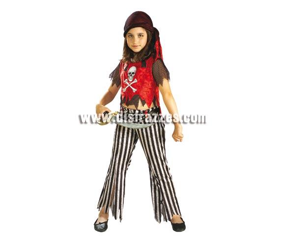Disfraz de Corsaria para niñas de 3 a 4 años. Incluye camisa, con chaleco, pantalón y pañuelo para la cabeza. Espada NO incluida. Disfraz de niña de Pirata del Caribe.