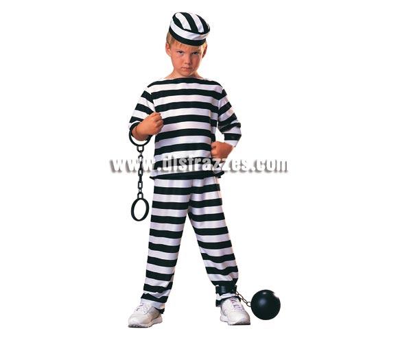 Disfraz muy barato de Prisionero para niños de 8 a 10 años. Incluye pantalón, camisa de manga larga y gorro. Accesorios NO incluidos, podrás verlos en la sección de Complementos. Con éste disfraz de Preso o Presidiario los niños están muy graciosos y no está nada visto en éstas tallas infantiles, por lo que irán diferentes al resto.