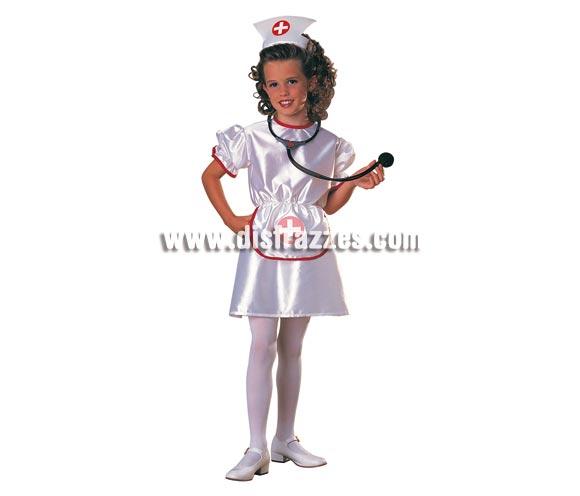 Disfraz de Enfermera para niñas de 5 a 7 años. Incluye vestido, delantal y cofia. Accesorios NO incluidos.