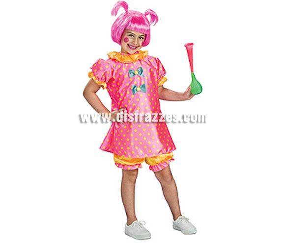 Disfraz de Bebé Payaso para niñas de 8 a 10 años. Incluye vestido y pantalones cortos.