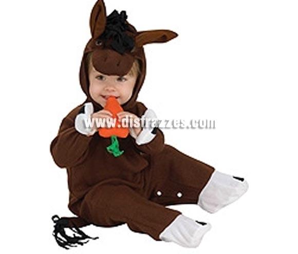Disfraz de Caballito con sonido para bebés de 6 a 12 meses. Incluye traje completo con gorro y zanahoria con sonido. Éste traje de Caballo para bebé es muy bonito además de práctico ya que es tipo pelele con clics para poder cambiarle el pañal al bebé fácilmente.