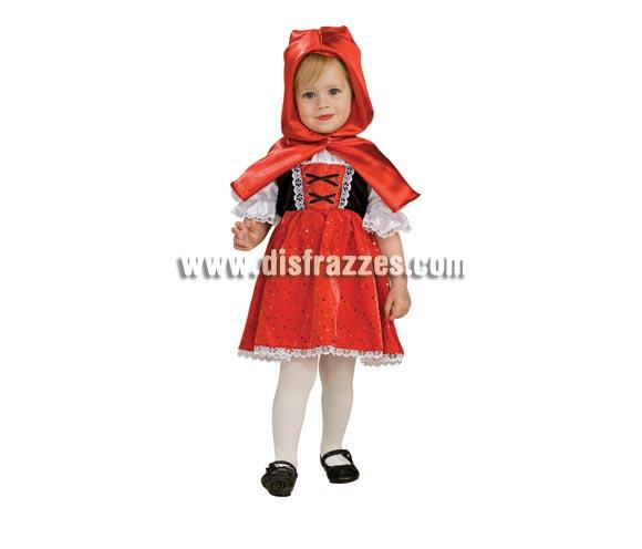 Disfraz de Caperucita Roja para niñas de 1 a 2 años. Incluye vestido y capa con capucha.