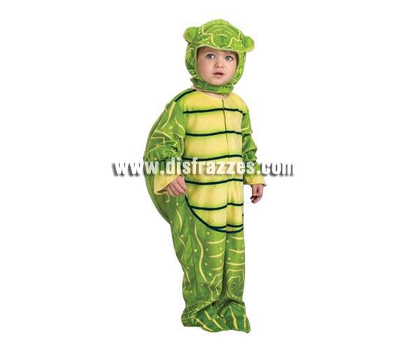 Disfraz de Tortuguita para niños de 1 a 2 años. Incluye traje completo con gorro. Apertura fácil del mono tipo pelele para cambio de pañal.