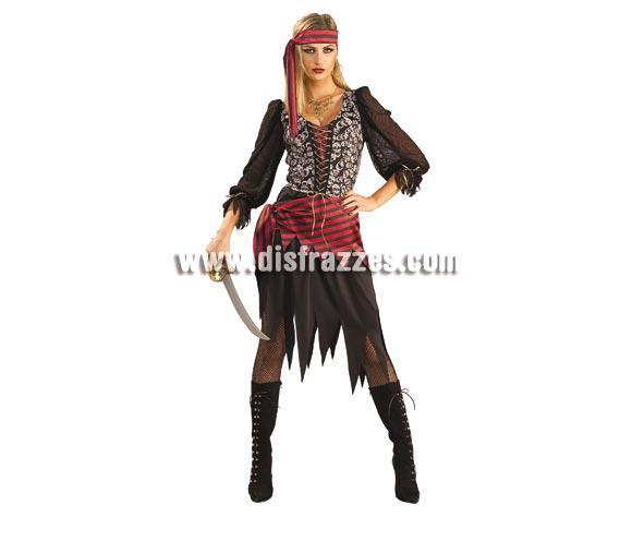 Disfraz de Reina Pirata para mujer. Talla standar. Incluye vestido, banda para la cintura y cinta para la cabeza. Espada NO incluida.