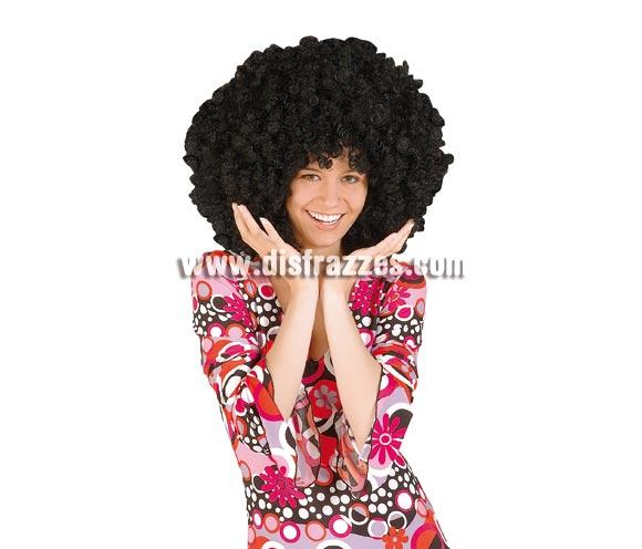 Peluca Afro extra grande negra. Talla universal adultos.