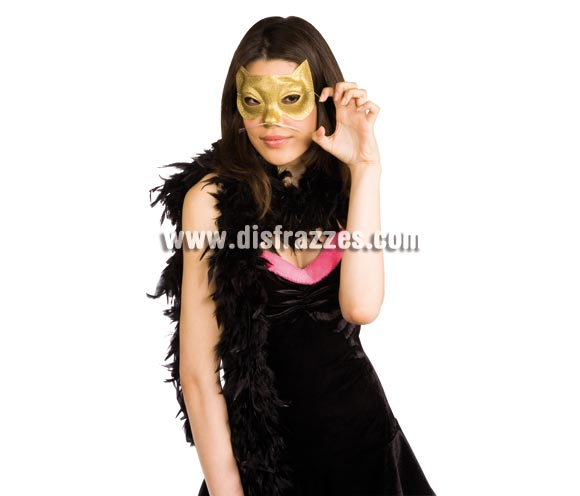 Antifaz Glitter de Gatita o Cat Woman dorado.