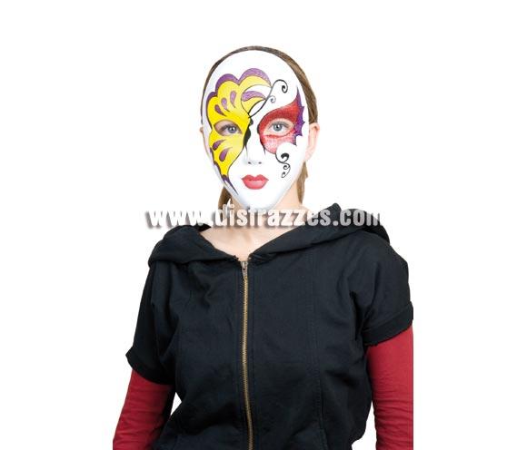Máscara o Careta Veneciana Glitter amarilla y roja.