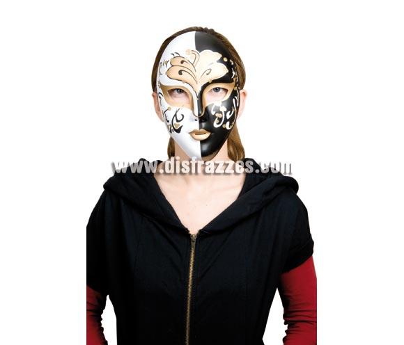 Máscara o Careta Veneciana Glitter blanca y negra.