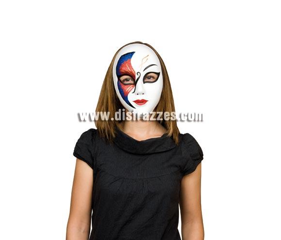 Máscara o Careta Veneciana azul y roja.