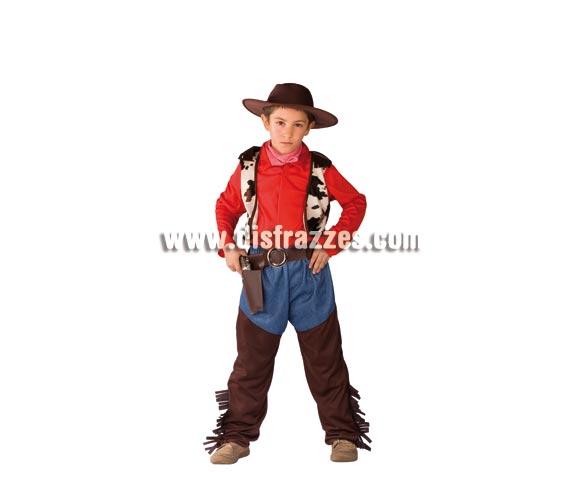 Disfraz de Cowboy para niño de 8 a 10 años. Incluye traje completo, sombrero y pañuelo. Pistola NO incluida, podrás verla en la sección Complementos. Éste traje de Pistolero o Vaquero es muy original y divertido.