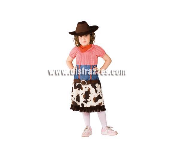 Disfraz de Cowgirl para niñas de 5 a 7 años. Incluye vestido, sombrero y pañuelo. Disfraz de Pistolera o Vaquera infantil de buena calidad.