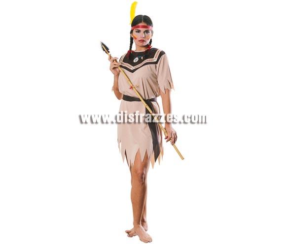 Disfraz muy barato de India para mujer. Talla standar. Incluye vestido, cinturón y cinta con pluma. Lanza NO incluida, la verás en la sección de Armas, dentro de Complementos.