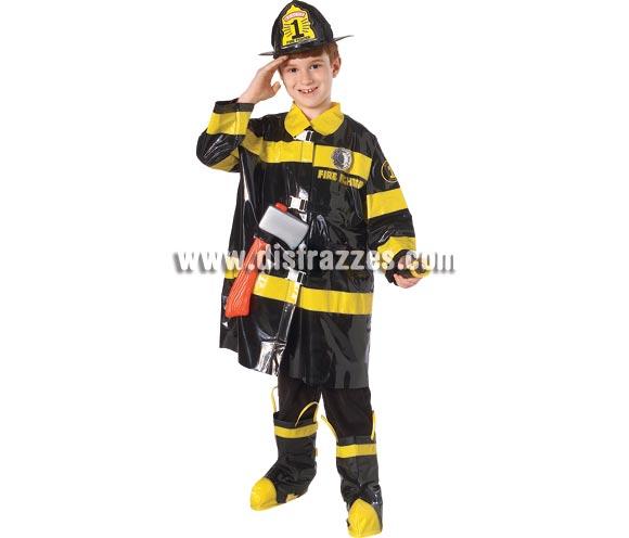 Disfraz de Bombero de New York para niños de 8 a 10 años. Incluye sombrero, chaqueta, insignia, cubrebotas, hacha y linterna.
