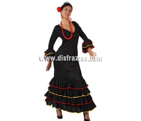 Disfraz de Faralae negro para mujer. Talla standar M-L = 38/42. Incluye vestido de flamenca o Sevillana. Accesorios NO incluidos.