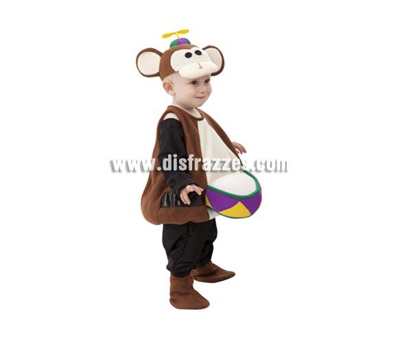 Disfraz barato de Mono de Circo para Bebés de 1 a 2 años. Incluye pelele, gorro y cubrepies. Éste disfraz es de los originales que ves a un niño en Carnaval con él y te llama la atención seguro.