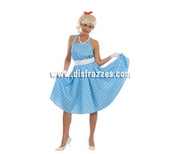 Disfraz barato de Chica de los años 60 para mujer. Talla standar válida hasta la 42/44. Incluye vestido y cinturón. Para disfrazarse de la mítica película Grease.