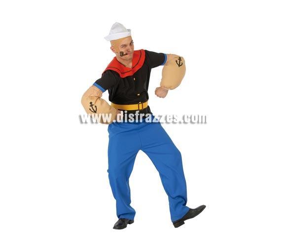 Disfraz de Marinero El Marino para hombre. Talla standar. Incluye gorro, camisa, cinturón, brazos y pantalón. Pipa NO incluida, podrás verla con la ref: 16817GUI. Con éste disfraz podrás imitar a Popeye.