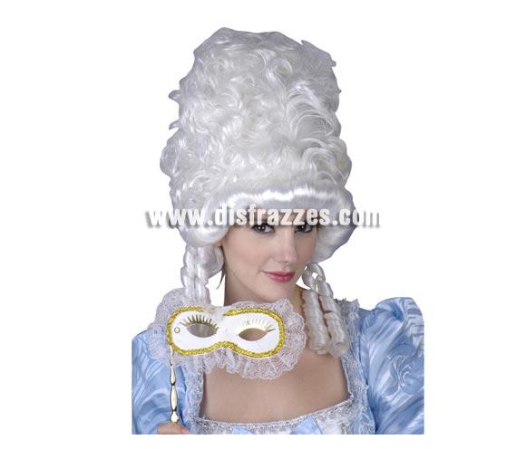 Peluca de Época para mujer de color blanco. Peluca Princesa de la Nobleza blanca.