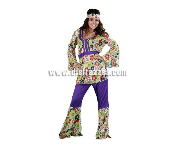 Disfraz barato de Hippie para chicas. Talla standar M-L 38/42. Incluye camisa, pantalón y cinta de la cabeza. Paz y Amor!! Disfraz de chica Hippy para mujer.