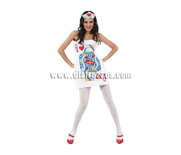 Disfraz barato de Carta Dama de Corazones para mujer. Talla standar M-L 38/42. Incluye túnica y tocado. Éste traje de Carnaval es muy original y diferente y hace pareja con el de Carta de Joker ref. 08066BT.