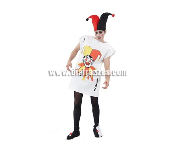 Disfraz barato de Carta Joker para hombre. Talla standar M-L 52/54. Incluye túnica y sombrero. Éste disfraz es muy original, diferente y perfecto para el Carnaval o para cualquier Fiesta de disfraces del año. Hace pareja con el de la ref. 08065BT de Carta de Dama de Corazones para mujer.