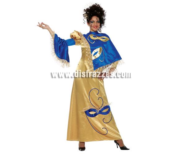 Disfraz de Miss Venecia Oro para mujer. Talla 44. Incluye vestido.
