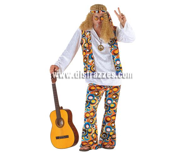 Disfraz de Hippie para hombre. Talla 54. Incluye camisa, pantalón, cinta y peluca.