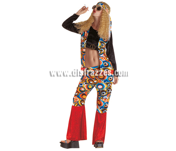 Disfraz de Hippie para mujer. Talla 44. Incluye camisa, pantalón, cinta y peluca.