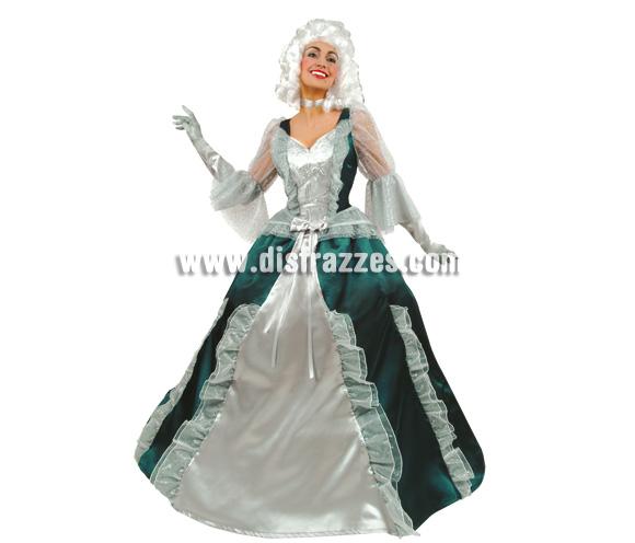 Disfraz de Condesa verde y plata para mujer. Talla 44. Incluye disfraz sin accesorios.